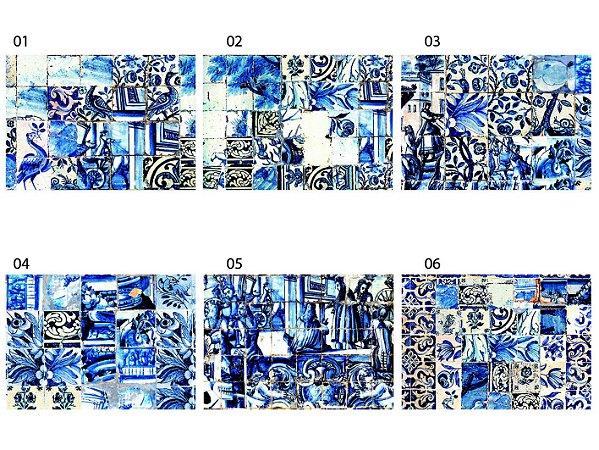 Jogo Americano Retangular - Azulejos Azuis (Conjunto de 6 unidades)