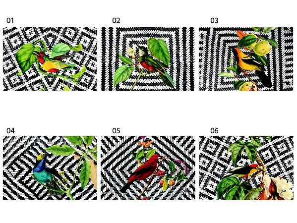 Jogo Americano Retangular - Pássaros em fundo palha (UNIDADE)
