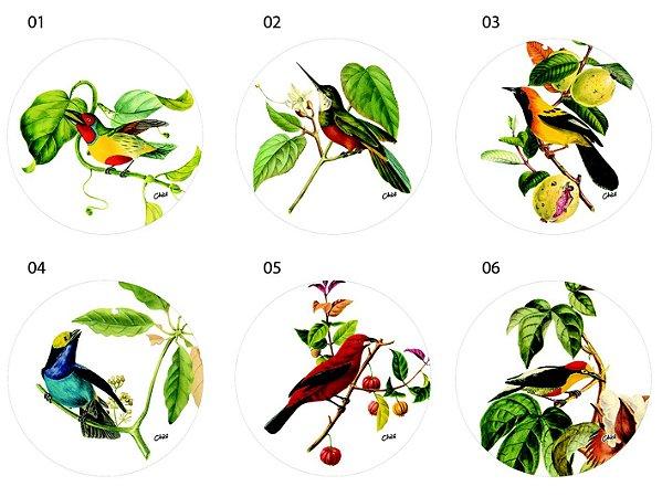 Jogo Americano Redondo - Pássaros em fundo branco (Conjunto de 6 unidades)