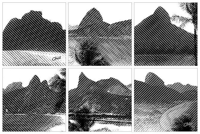 Porta Copos - Rio Listrado Preto e Branco (6 unidades)