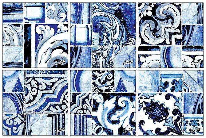 Porta Copos - Azulejos Azuis (6 unidades)