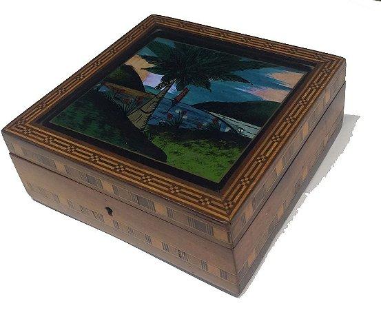 Caixa Tampa de Vidro pintado