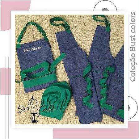 Avental Bust Colors Jeans com verde