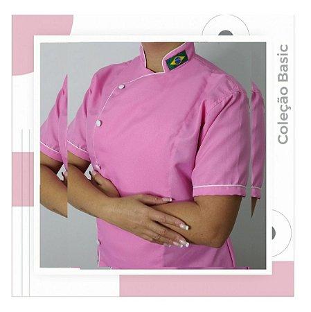 Dólmã rosa médio com viés branco 100% poliéster