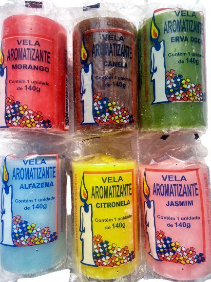 Vela aromática 140g colorida - aromatizante e decorativa - escolha seu aroma preferido
