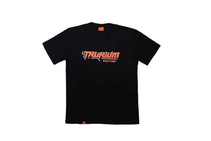 Camiseta Trurium Ready to Grind preta, estampa Laranja com cinza TAM P