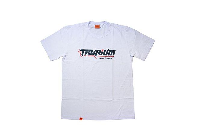 Camiseta Trurium Ready to Grind branca, estampa preta TAM P