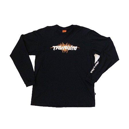 Camiseta preta Manga Longa Tam XG