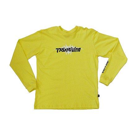 Camiseta amarela, estampa preta e branca Tam G