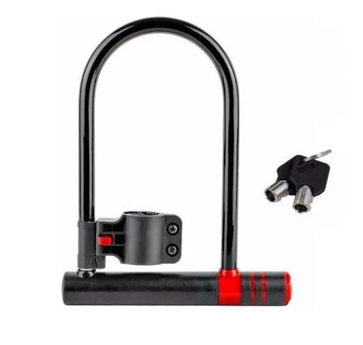 Cadeado Para Bicicleta Atrio Com Chave U-lock Preto - Bi083