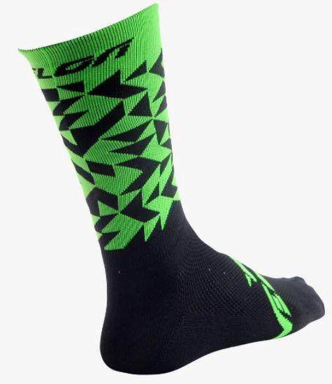Meia Velon Preta com Verde Geometrico