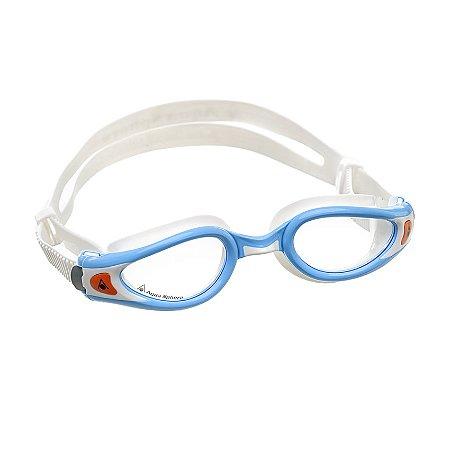 Óculos de Natação Aqua Sphere Kaiman Exo Small Branco e Turquesa Lente Transparente