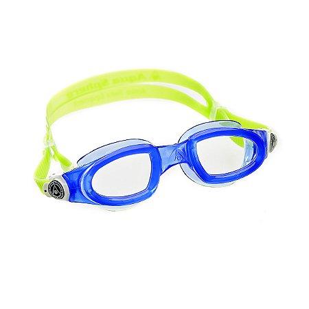 Óculos de Natação Aqua Sphere Mako Azul e Presilha Branca Lente Transparente