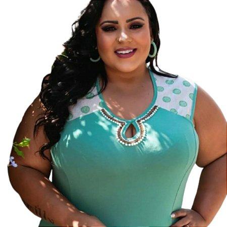 Blusa Plus Size Detalhe em Estampado Poá
