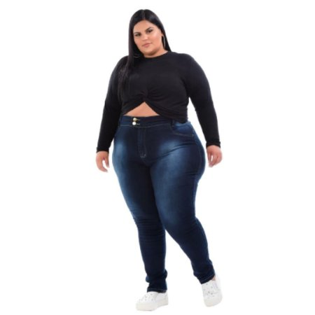 Calça Jeans Skinny Plus Size 2 Botões