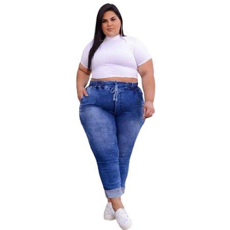 Calça Jogger Jeans Plus Size