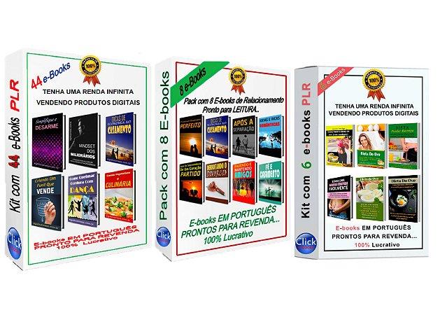 Pack com 58 E-books PLR