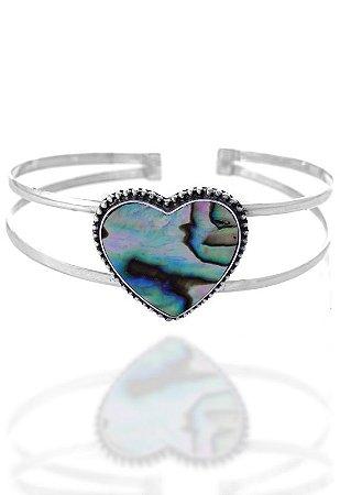 Bracelete Coração com Pedra Natural