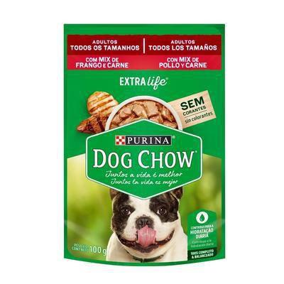 Ração Úmido Purina Dog Chow Extra Life Sache Para Cães Adultos Frango E Carne 100g