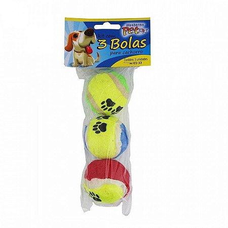 Kit com 3 Bolas Mini De Tênis para Cães e Gatos