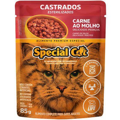 Ração Úmida Special Cat Sache Carne para Gatos Castrados 85g
