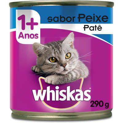 Ração Úmida Whiskas Lata Patê de Peixe para Gatos Adultos  290 g