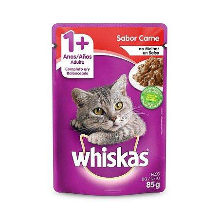 Ração Úmida Whiskas Sache Carne ao Molho para Gatos Adultos