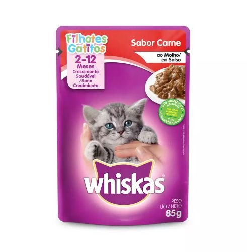 Ração Úmida Whiskas Sache para Gatos Filhotes Sabor Carne ao Molho