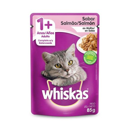 Ração Úmida Whiskas Sache Salmão ao Molho para Gatos Adultos