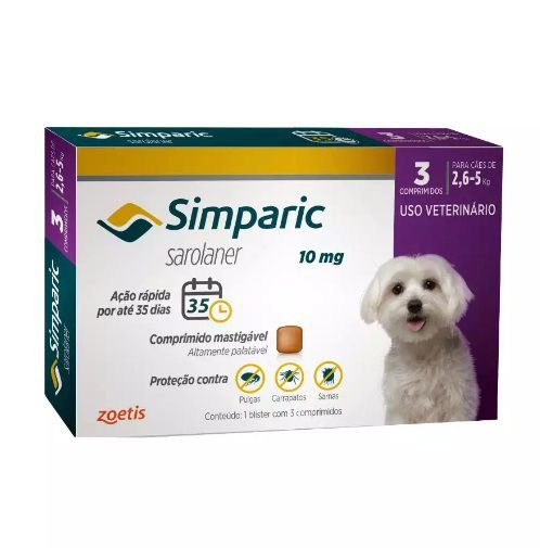 Antipulgas Simparic para cães 2,6 a 5 kg - 10mg - Zoetis
