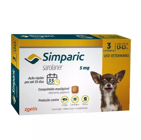 Antipulgas Simparic para cães 1,3 a 2,5 kg - 5mg - Zoetis