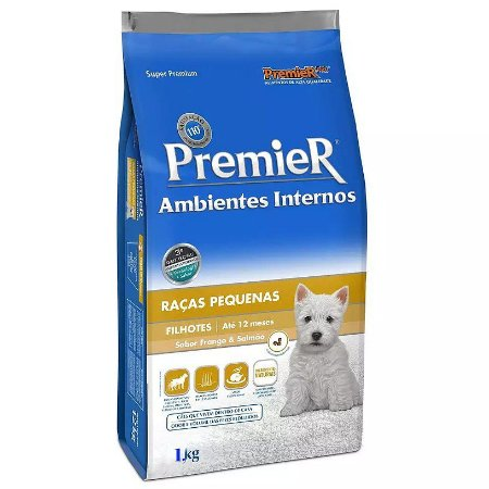 Ração Premier para Cães Filhotes Ambientes Internos Frango e Salmão