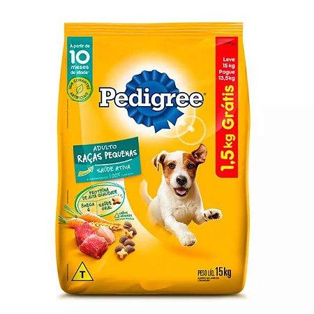 Ração Pedigree  Cães Adultos Raças Pequenas Leve 15kg Pague 13,5kg