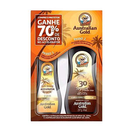 KIT AUSTRALIAN GOLD PROTETOR SOLAR FPS 30 237ml + ACELERADOR DE BRONZEADO 125ml - 1104