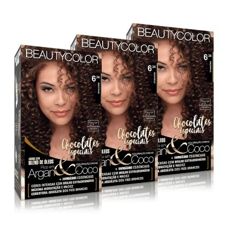 KIT 3 COLORAÇÕES PERMANENTE BEAUTYCOLOR CHOCOLATE 6.34