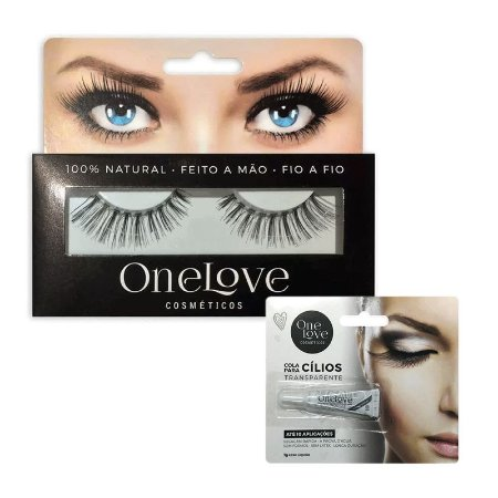 KIT PAR DE CÍLIOS VOLUME EFFECT 4 ONE LOVE + COLA DE CÍLIOS TRANSPARENTE 1g
