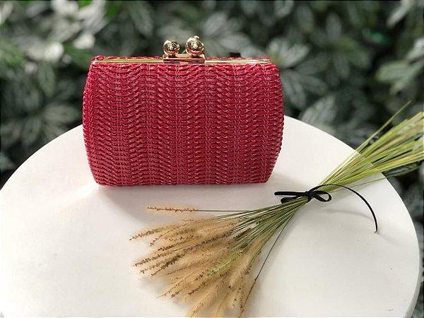 Bolsa Clutch Vermelha Trançada