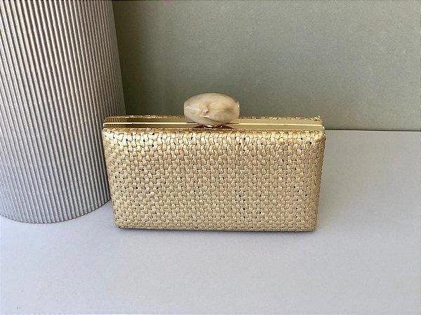 Bolsa Clutch Trançada Metalizada Dourada