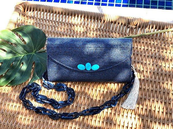 Bolsa Clutch Ráfia Azul Marinho Coleção Resort