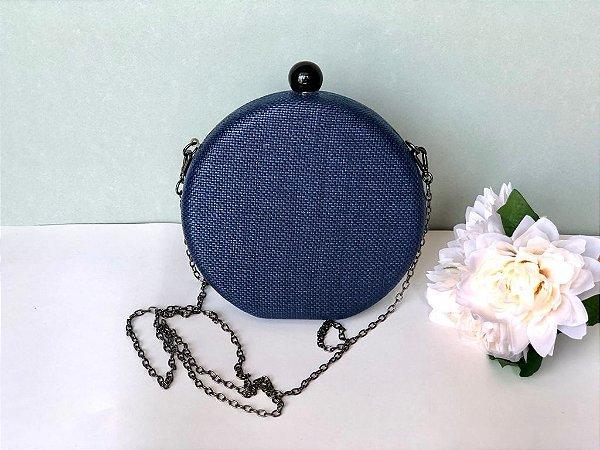Bolsa Clutch Redonda Ráfia Azul Marinho