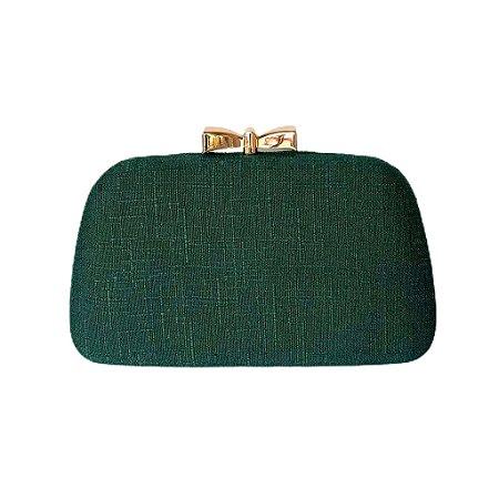 Bolsa Clutch Trapézio Verde Escuro Fecho Lacinho Dourado