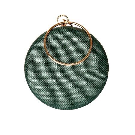 Bolsa Clutch Redonda Verde Escuro Alça Metal