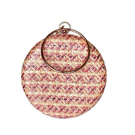 Bolsa Clutch Redonda Estampa Rosa Alça Metal
