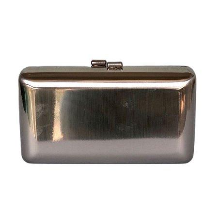 Bolsa Clutch Metal Liso Prateada Fosca