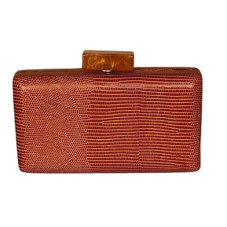 Bolsa Clutch Retangular Textura Caramelo