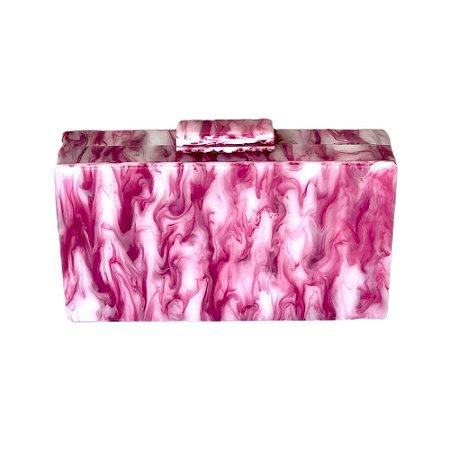 Bolsa Clutch Acrílica Mix Rosa e Branco