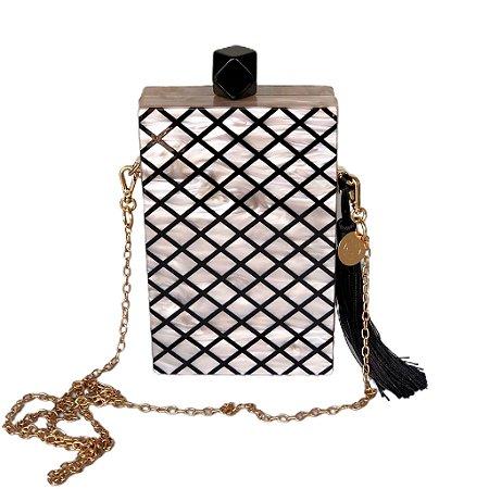 Bolsa Clutch Acrílica Vertical Perolada Champagne e Linhas Geométricas