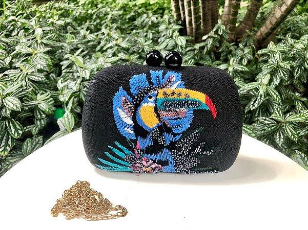 Bolsa Clutch Bordada Tucano Preta