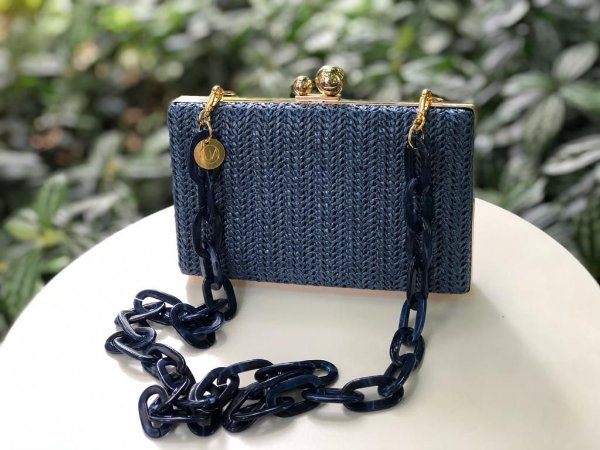 Bolsa Clutch Ráffia Azul Marinho