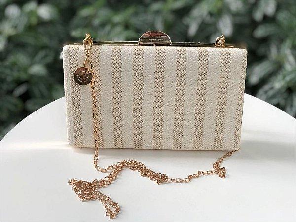Bolsa Clutch Textura Off White